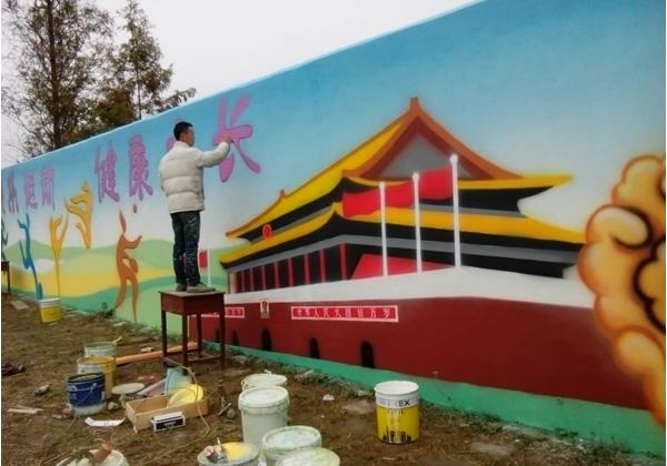 襄阳市襄州区黄龙中学主席台墙绘